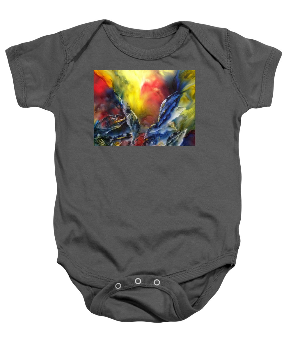 Fish Baby Onesie featuring the painting Against The Current by Janice Nabors Raiteri