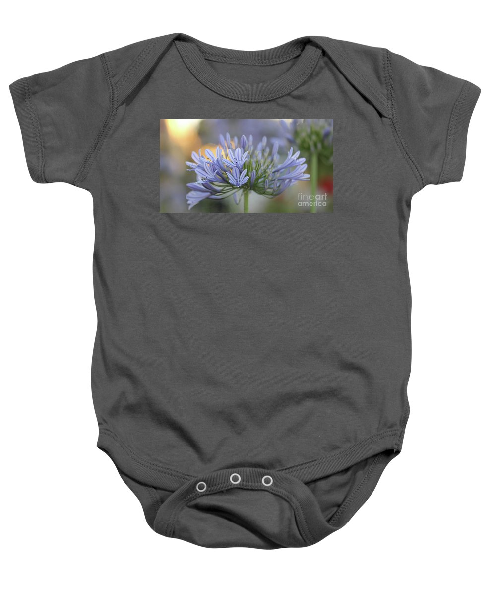 Blue Flower Baby Onesie featuring the photograph Agapanthus Africanus - Lily Of The Nile 2 by Carolyn Parker