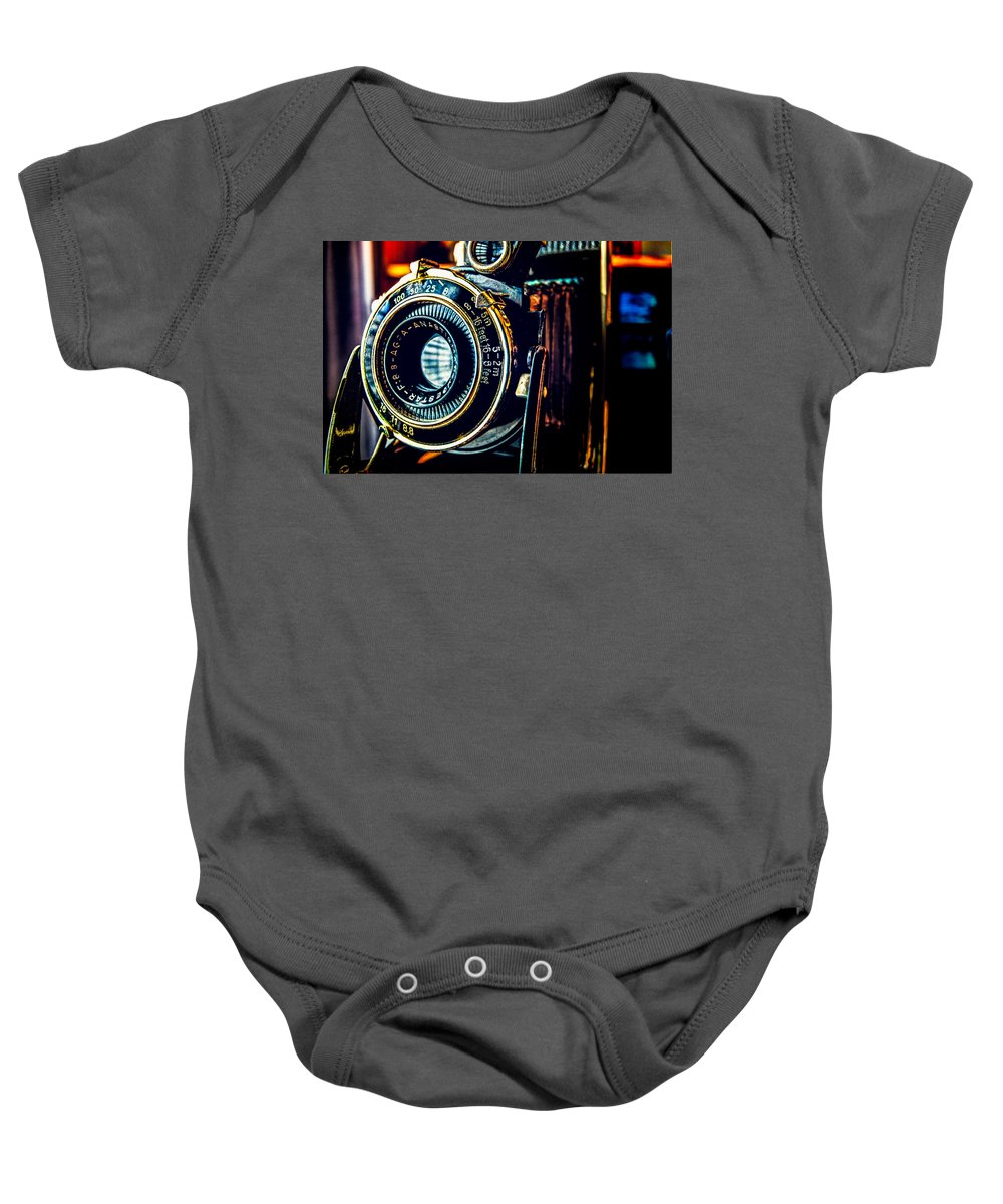 Camera Baby Onesie featuring the photograph Agfa Record II by Alfredo Alegrett