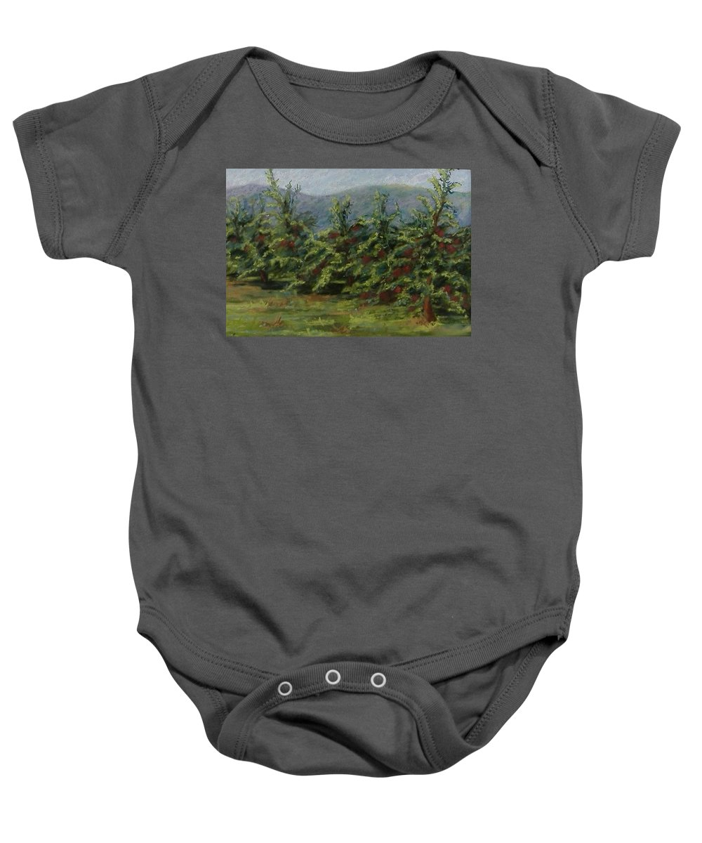 Apple Trees Baby Onesie featuring the pastel Ah The Apple Trees by Pat Snook