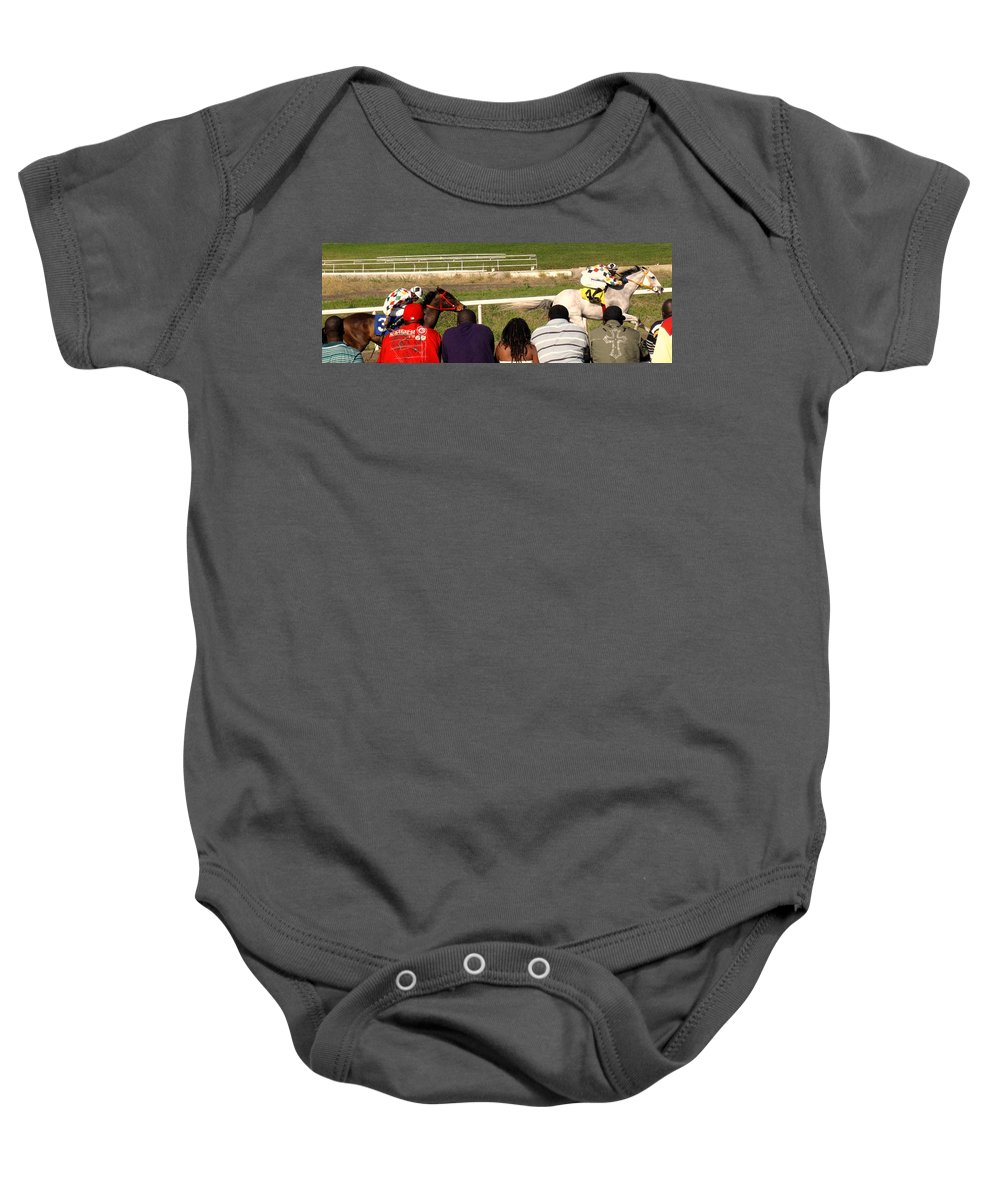 Horse Baby Onesie featuring the photograph Ahead By Two Lengths by Ian MacDonald