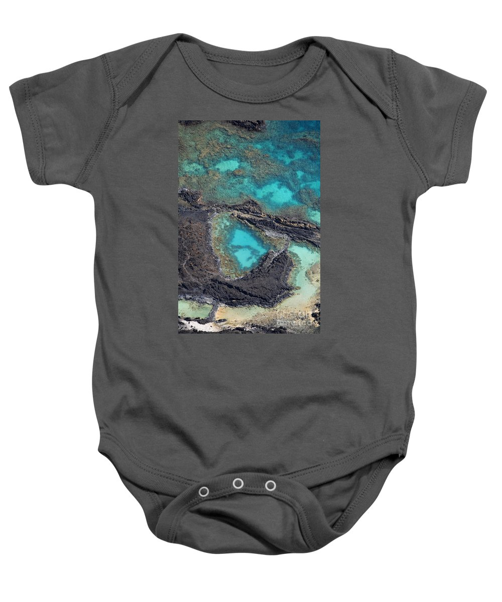 Aerial Baby Onesie featuring the photograph Ahihi Kinau Natural Preserve by Ron Dahlquist - Printscapes