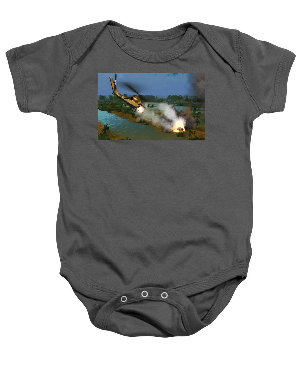 Decorative Baby Onesie featuring the digital art Air Conflicts Vietnam Front by Don Kuing