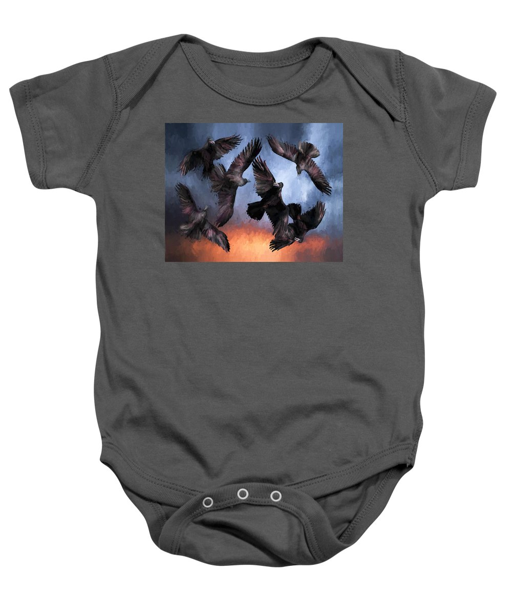 Fine Art Baby Onesie featuring the painting Airborne Unkindness by David Wagner