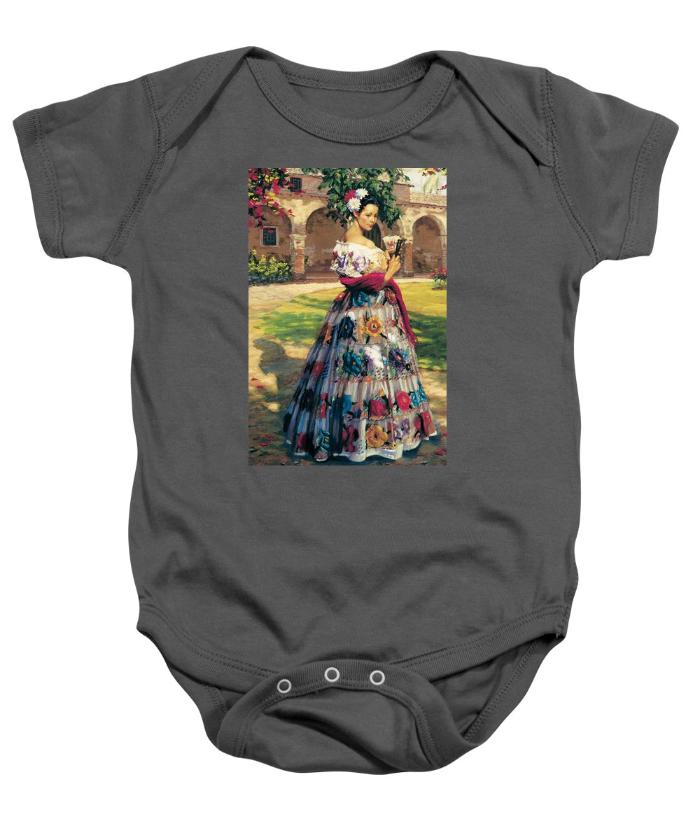 Woman Elaborately Embroidered Mexican Dress. Background Mission San Juan Capistrano. Baby Onesie featuring the painting Al Aire Libre by Jean Hildebrant