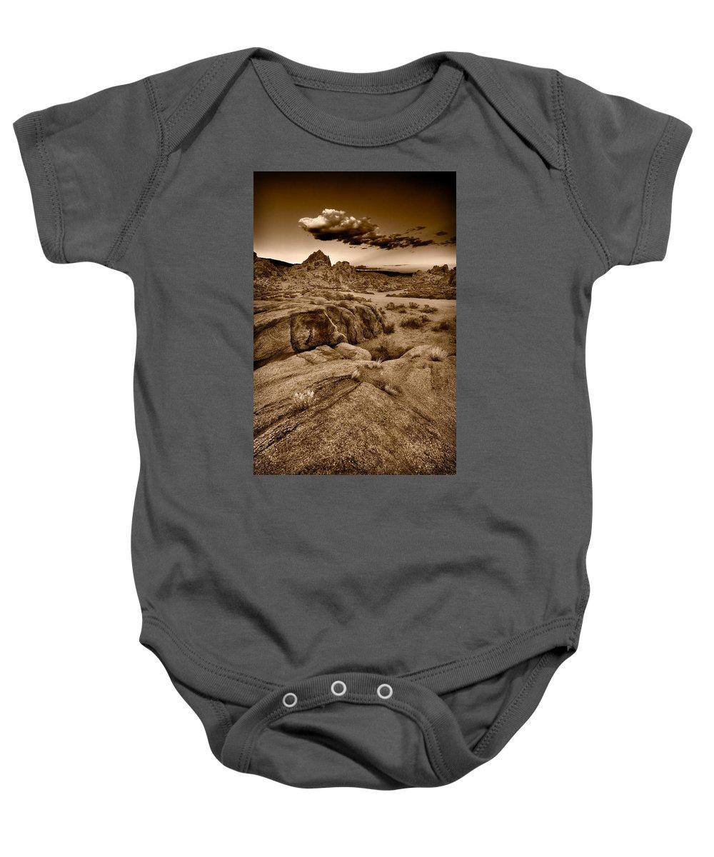 Alabama Baby Onesie featuring the photograph Alabama Hills California B W by Steve Gadomski