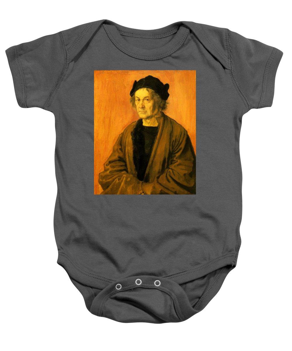 Albrecht Baby Onesie featuring the painting Albrecht Durer Father 1497 by Durer Albrecht