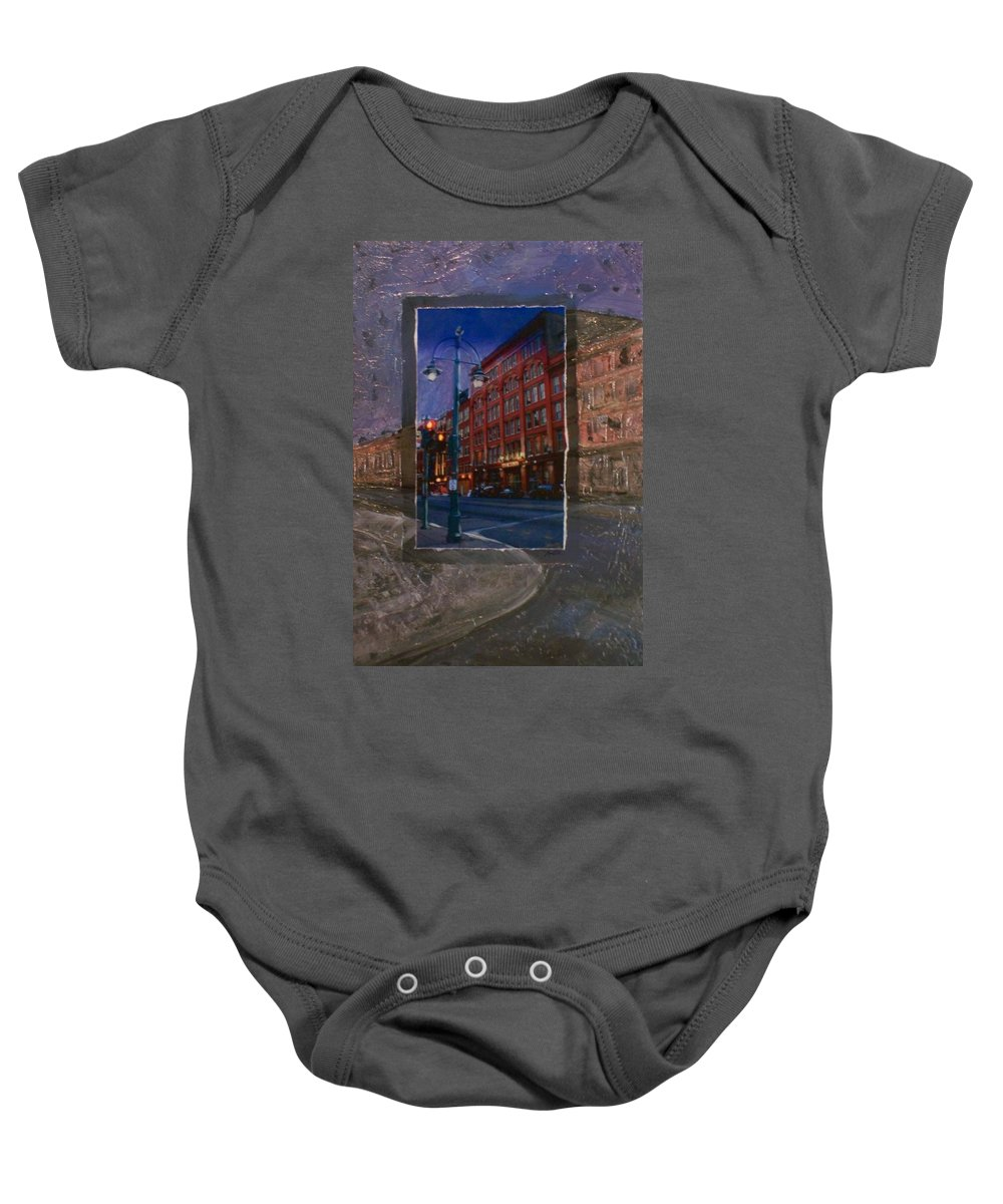 Ale House Baby Onesie featuring the mixed media Ale House And Street Lamp by Anita Burgermeister