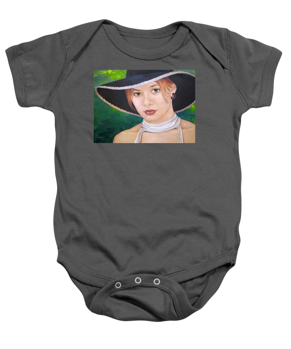 Pretty Girl Baby Onesie featuring the painting Alexis by Jerrold Carton