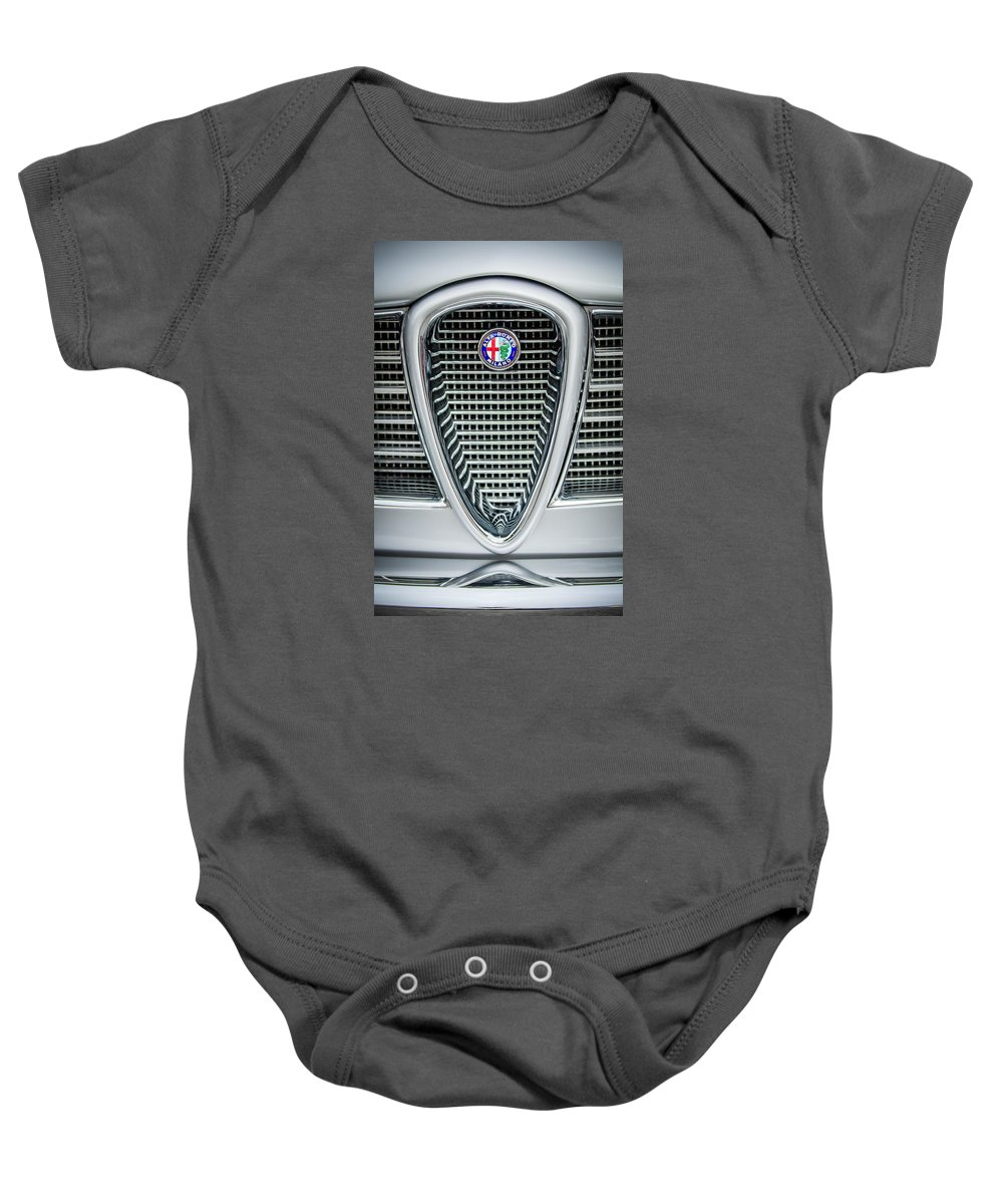 Alfa-romeo Baby Onesie featuring the photograph Alfa-romeo Grille Emblem by Jill Reger