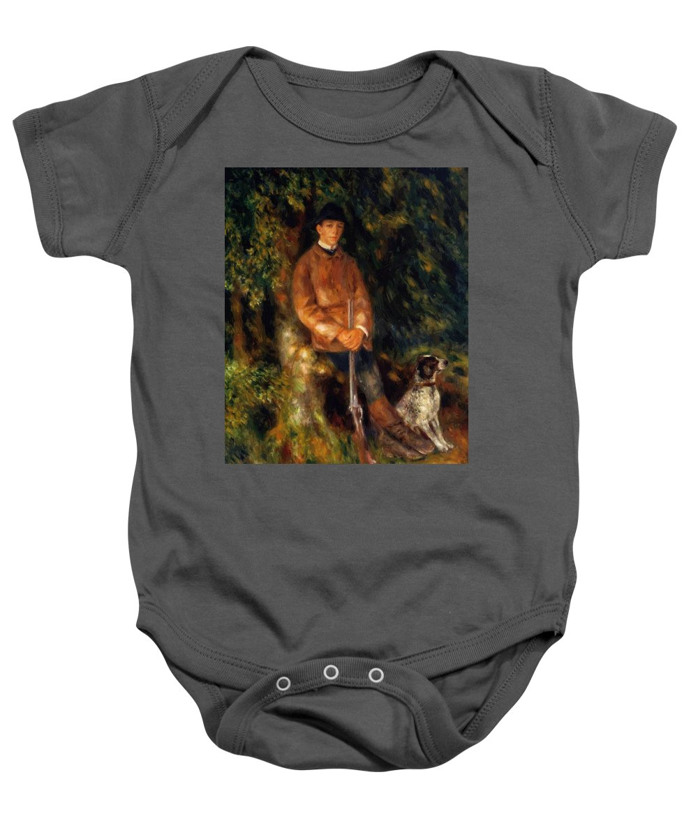 Alfred Baby Onesie featuring the painting Alfred Berard And His Dog 1881 by Renoir PierreAuguste