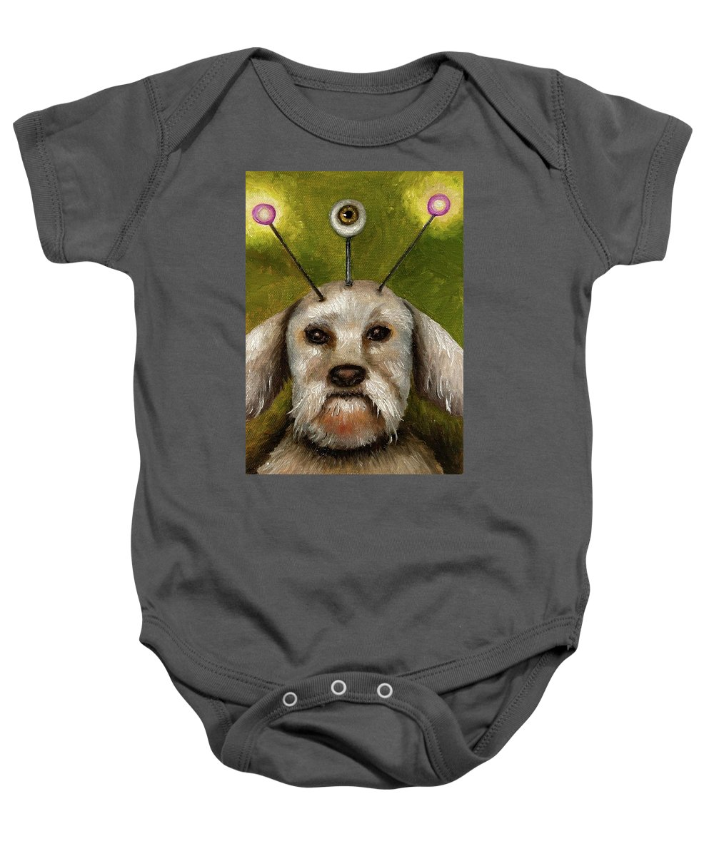 Dog Baby Onesie featuring the painting Alien Dog by Leah Saulnier The Painting Maniac