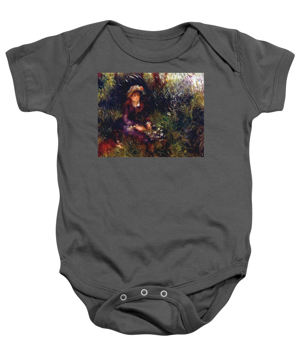 Aline Baby Onesie featuring the painting Aline Charigot With A Dog 1880 by Renoir PierreAuguste