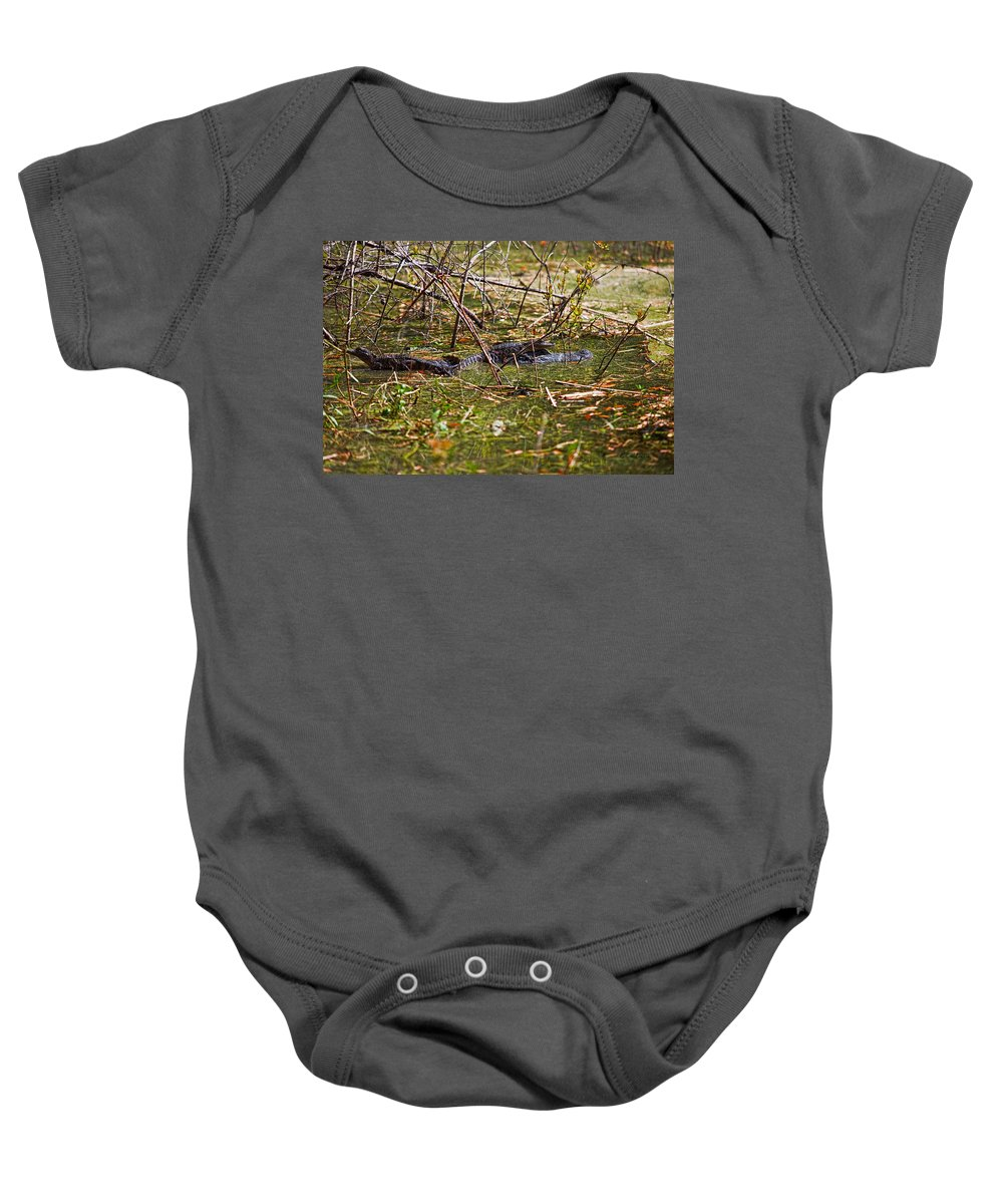 American Alligator Baby Onesie featuring the photograph All Aboard by Christopher Holmes
