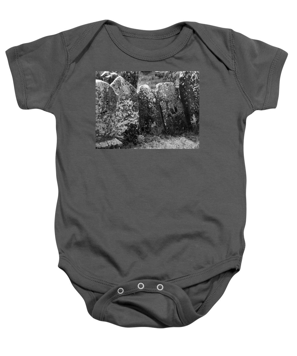 Ireland Baby Onesie featuring the photograph All In A Row At Fuerty Cemetery Roscommon Ireland by Teresa Mucha