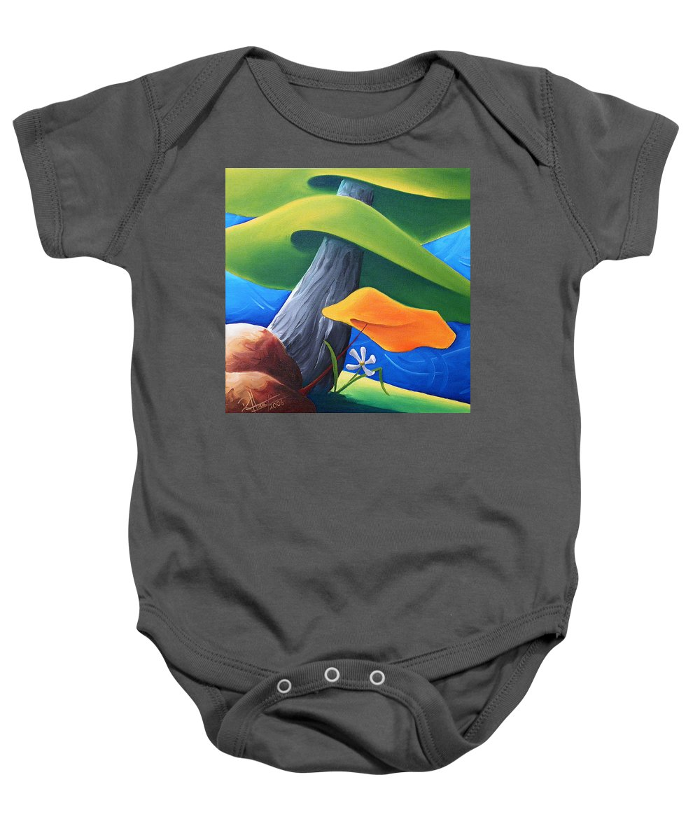 Landscape Baby Onesie featuring the painting All Under One Roof by Richard Hoedl