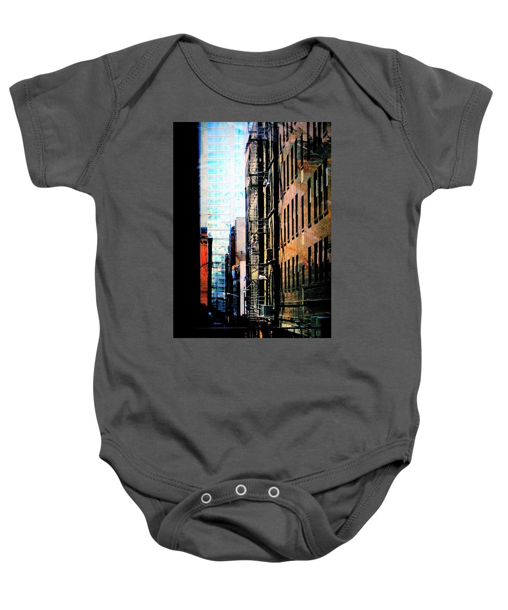Fusion Foto Art Baby Onesie featuring the digital art Alley Abstract #2 by Anita Burgermeister