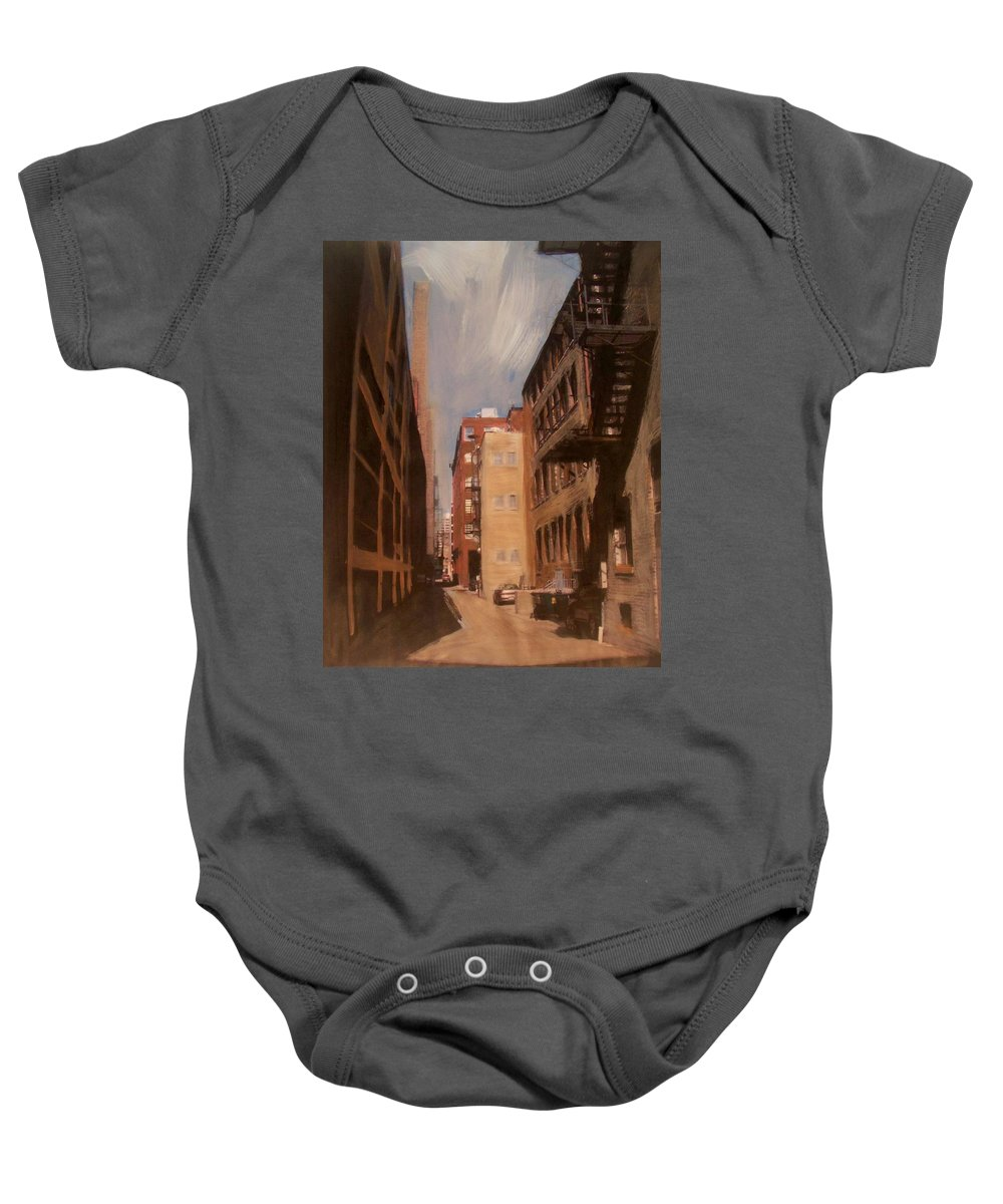 Alley Baby Onesie featuring the mixed media Alley Series 1 by Anita Burgermeister