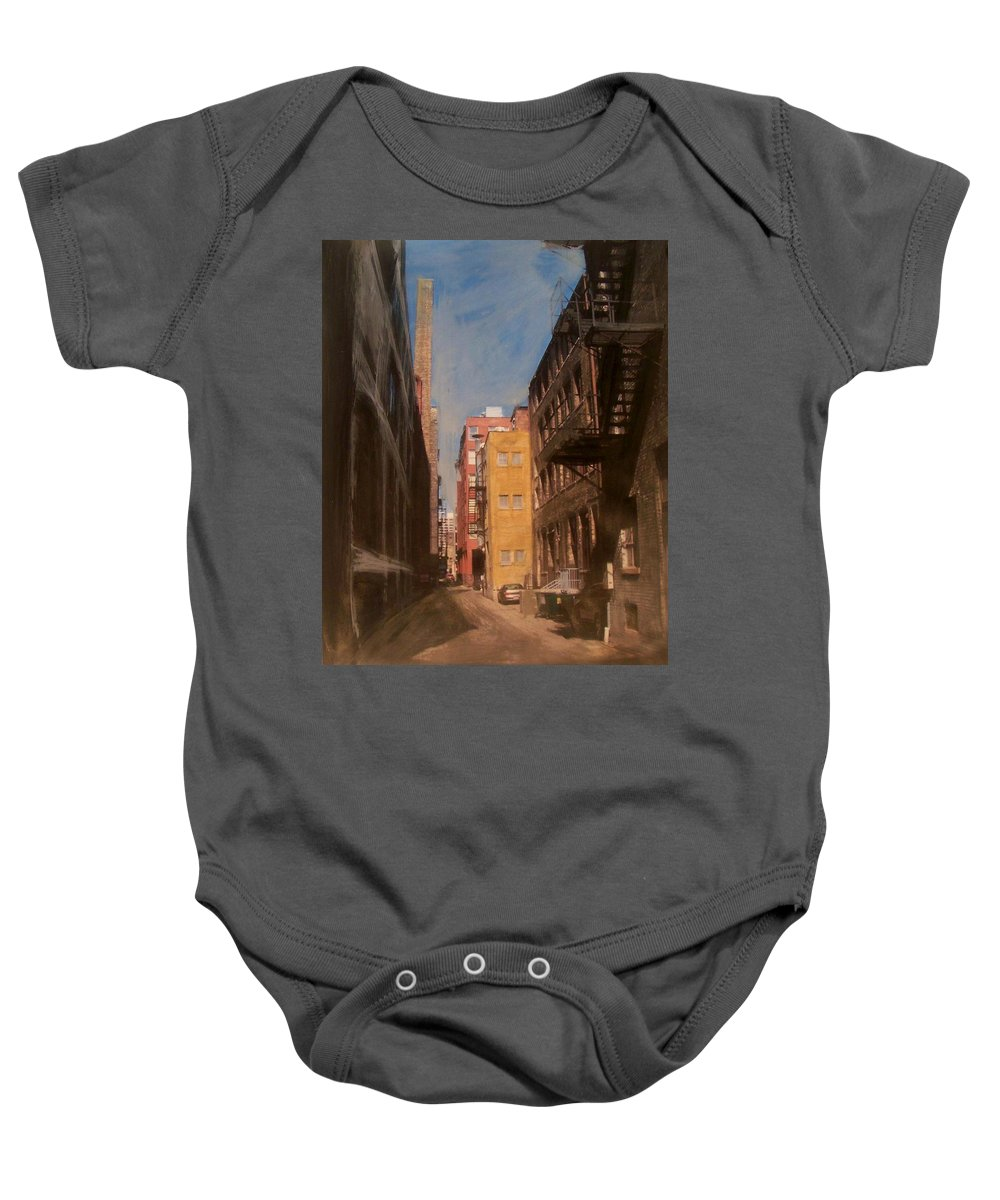Alley Baby Onesie featuring the mixed media Alley Series 2 by Anita Burgermeister
