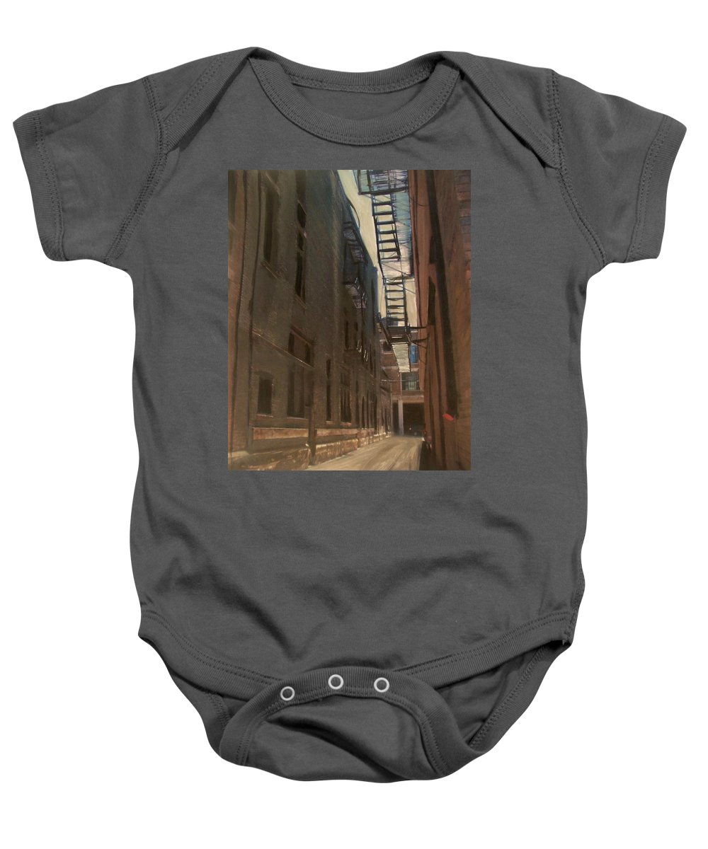 Alley Baby Onesie featuring the painting Alley Series 5 by Anita Burgermeister