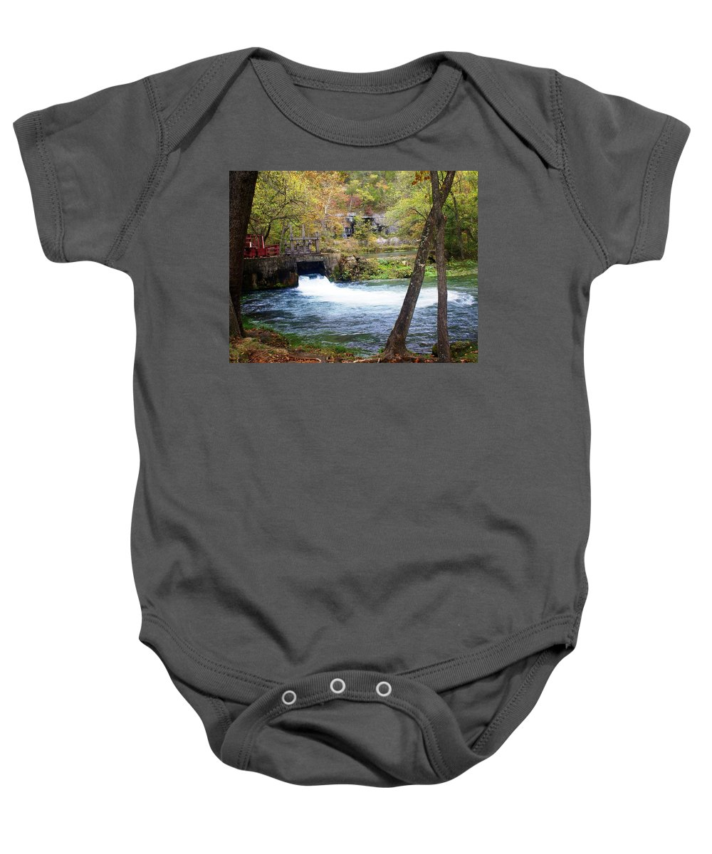 Alley Spring Baby Onesie featuring the photograph Alley Spring by Marty Koch