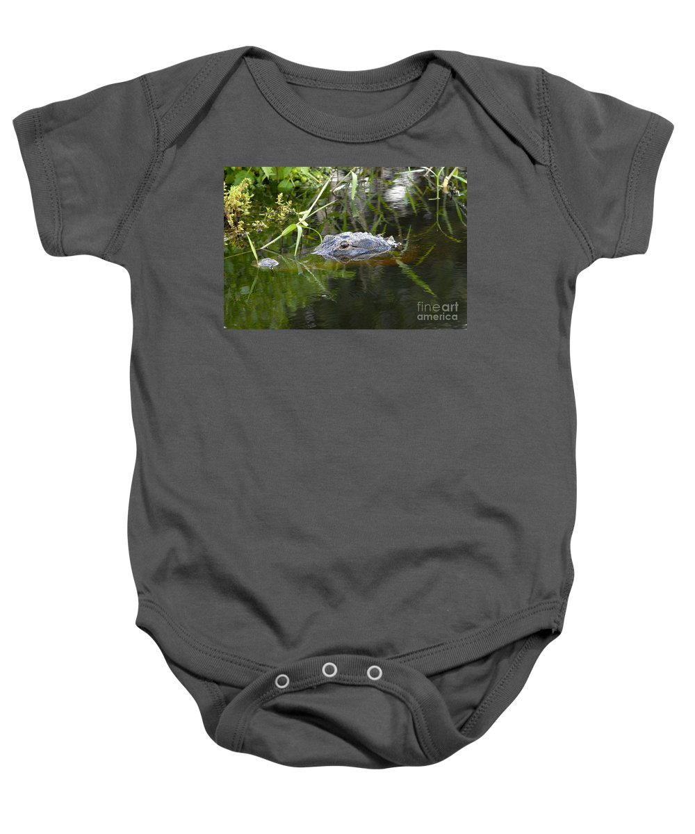 Alligator Baby Onesie featuring the photograph Alligator Hunting by David Lee Thompson
