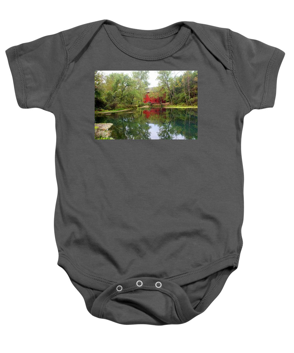 Mill Baby Onesie featuring the photograph Allsy Sprng Mill by Marty Koch