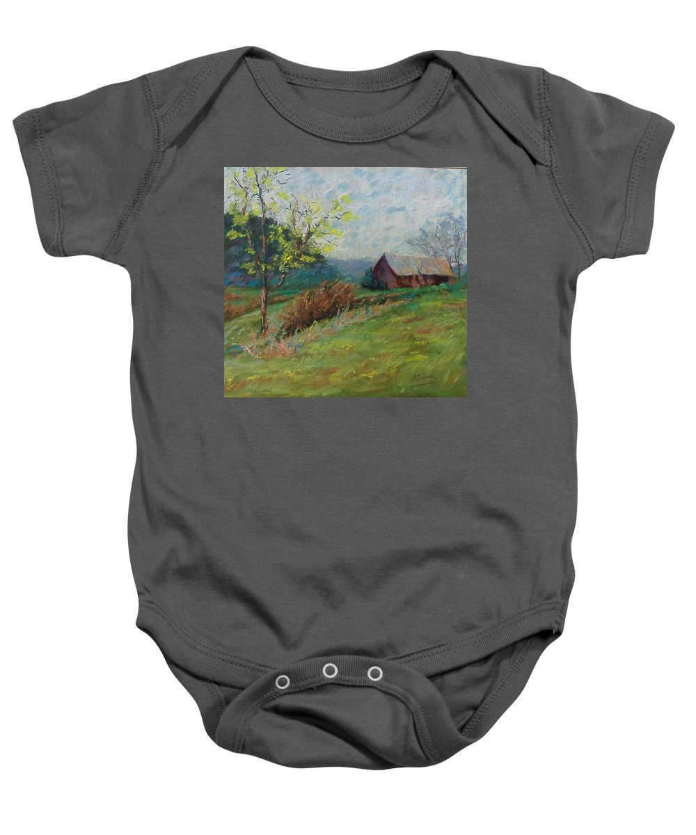 Landscape Baby Onesie featuring the pastel Almost Spring by Pat Snook