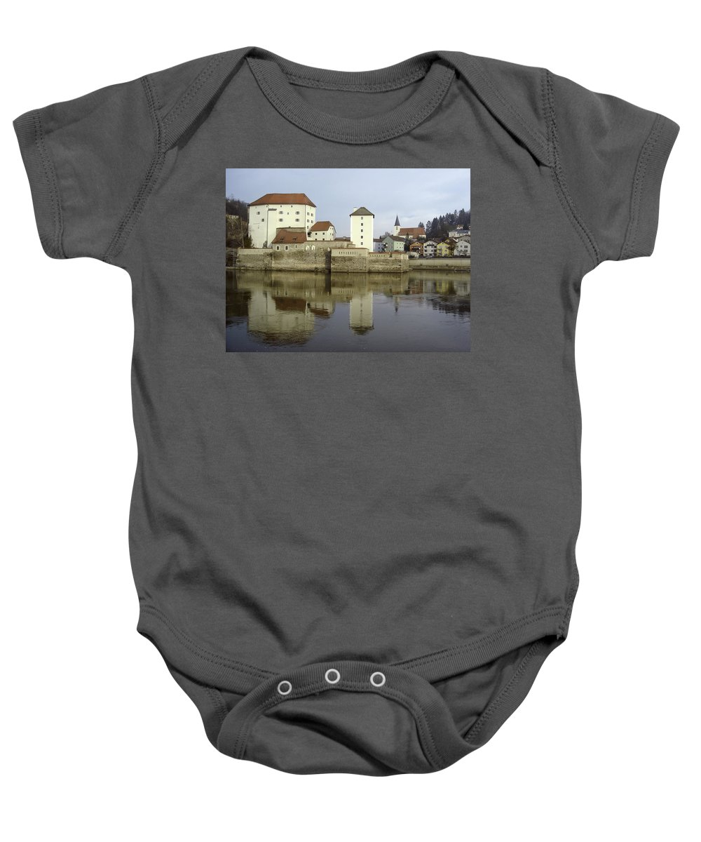 River Baby Onesie featuring the photograph Along The Danube by Mary Rogers