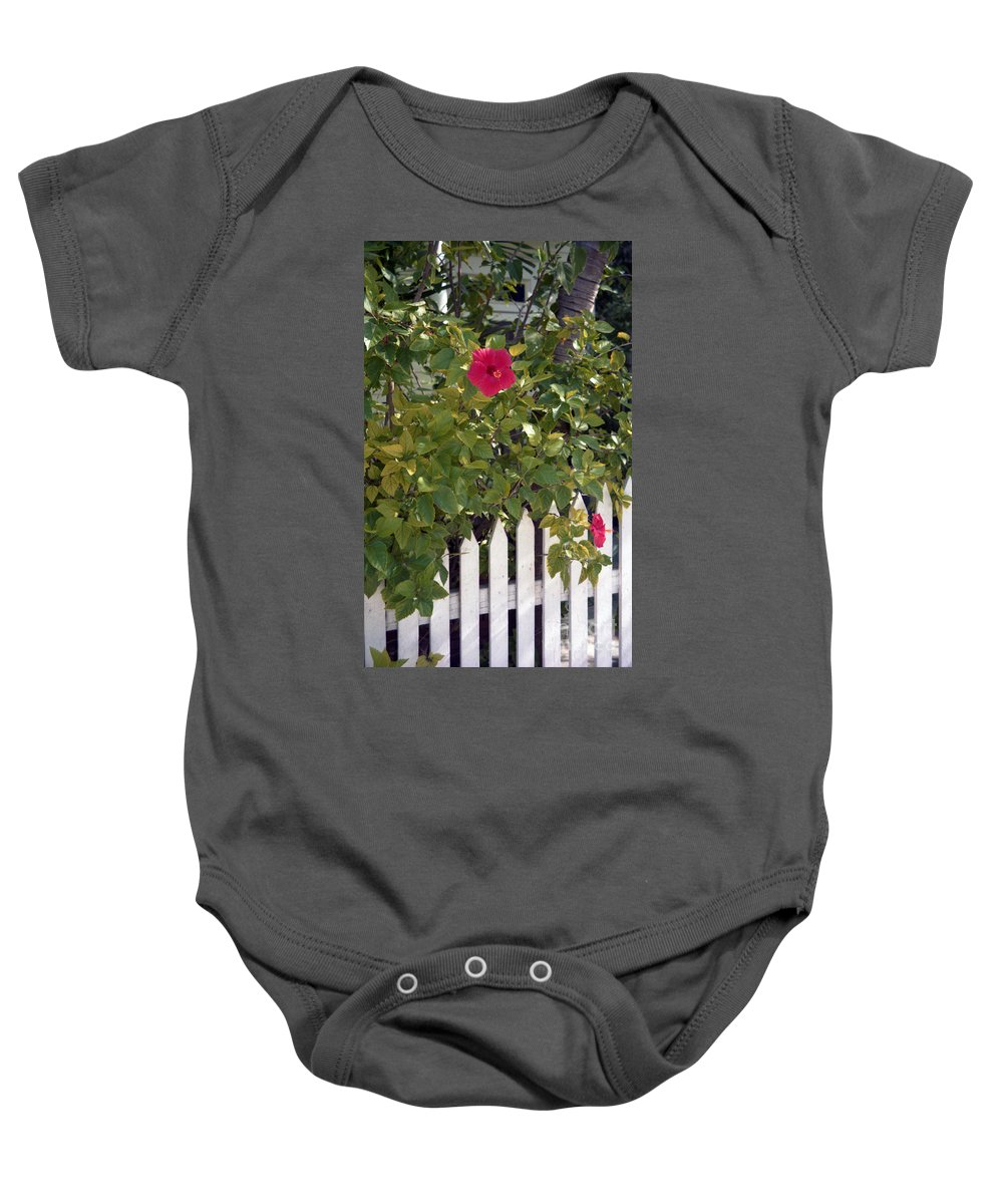 Azelea Baby Onesie featuring the photograph Along The Picket Fence by Richard Rizzo