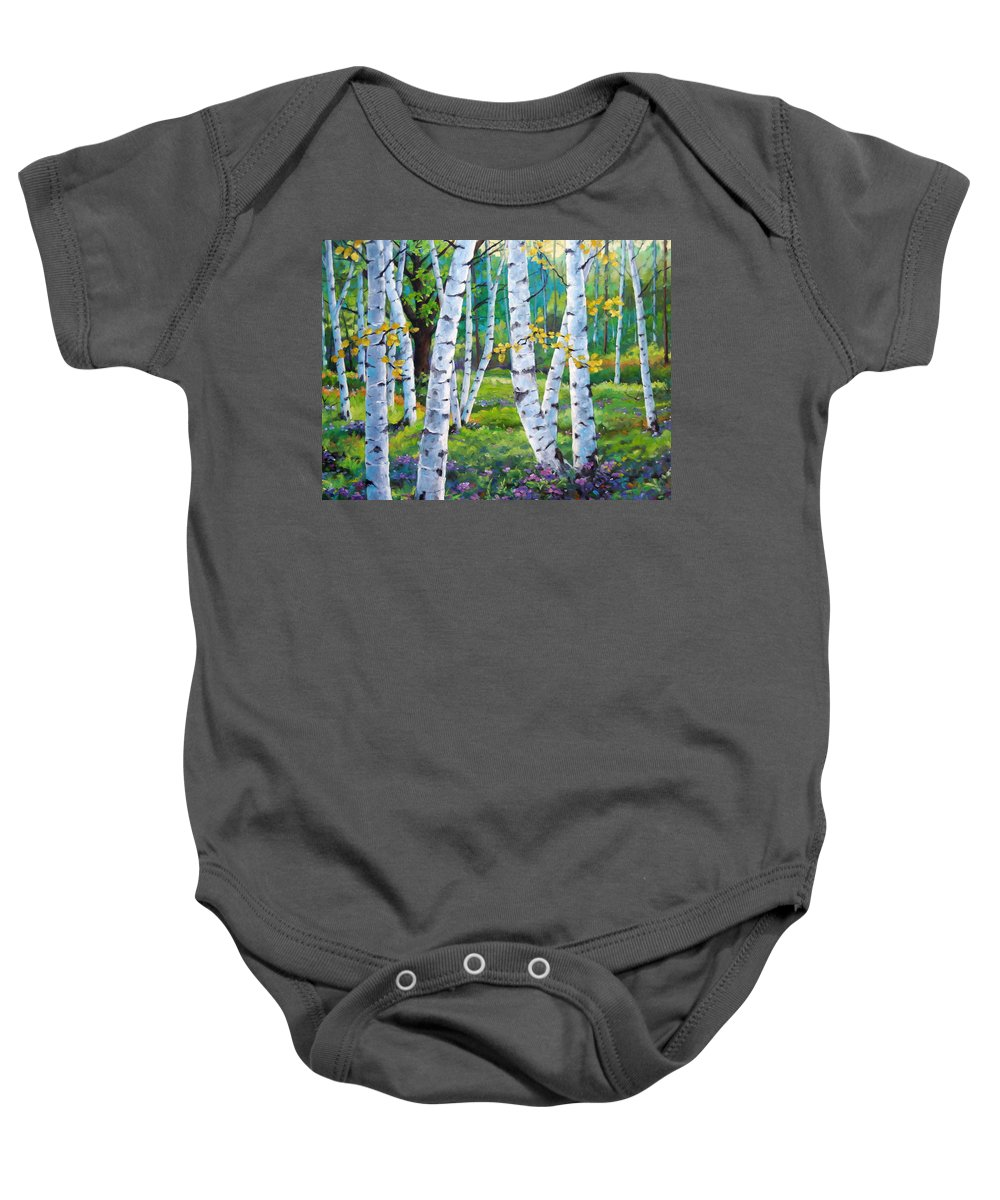 Birche; Birches; Tree; Trees; Nature; Landscape; Landscapes Scenic; Richard T. Pranke; Canadian Artist Painter Baby Onesie featuring the painting Alpine Flowers And Birches by Richard T Pranke