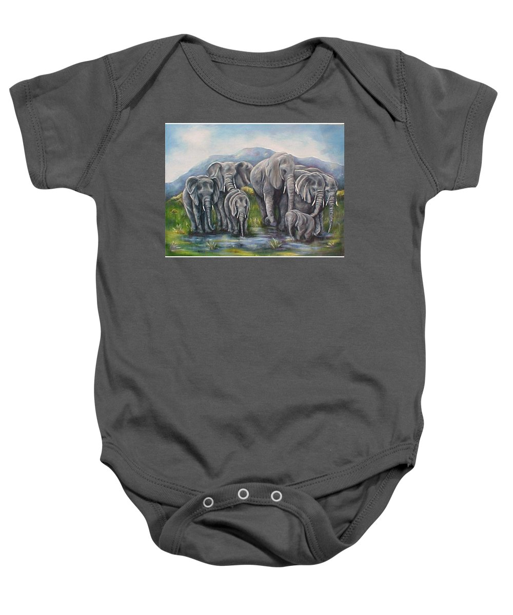 Elephants Baby Onesie featuring the painting Always by Melody Horton Karandjeff