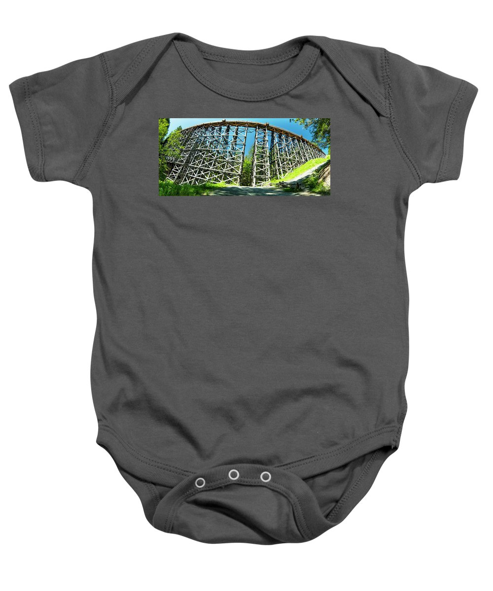 Background Baby Onesie featuring the photograph Amazing Kinsol Wooden Trestle Panorama View, Vancouver Island, Bc, Canada. by Andrew Kim
