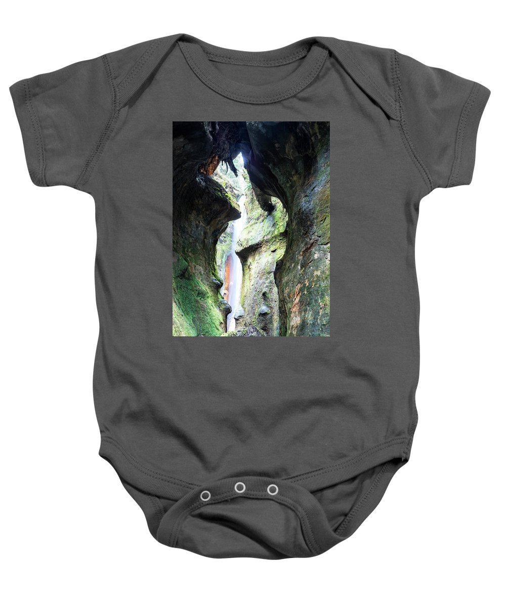 Amazing Baby Onesie featuring the photograph Amazing Vancouver Island Series - Sombrio Cave Waterfall Inside Closeup 2. by Andrew Kim