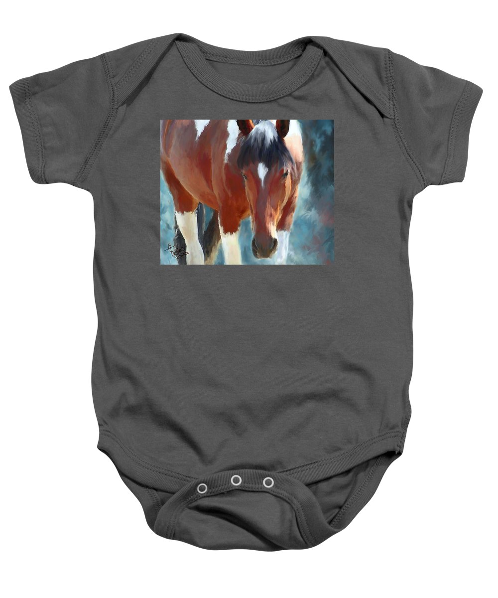 Mixed Media Baby Onesie featuring the painting Ambers Run by Colleen Taylor