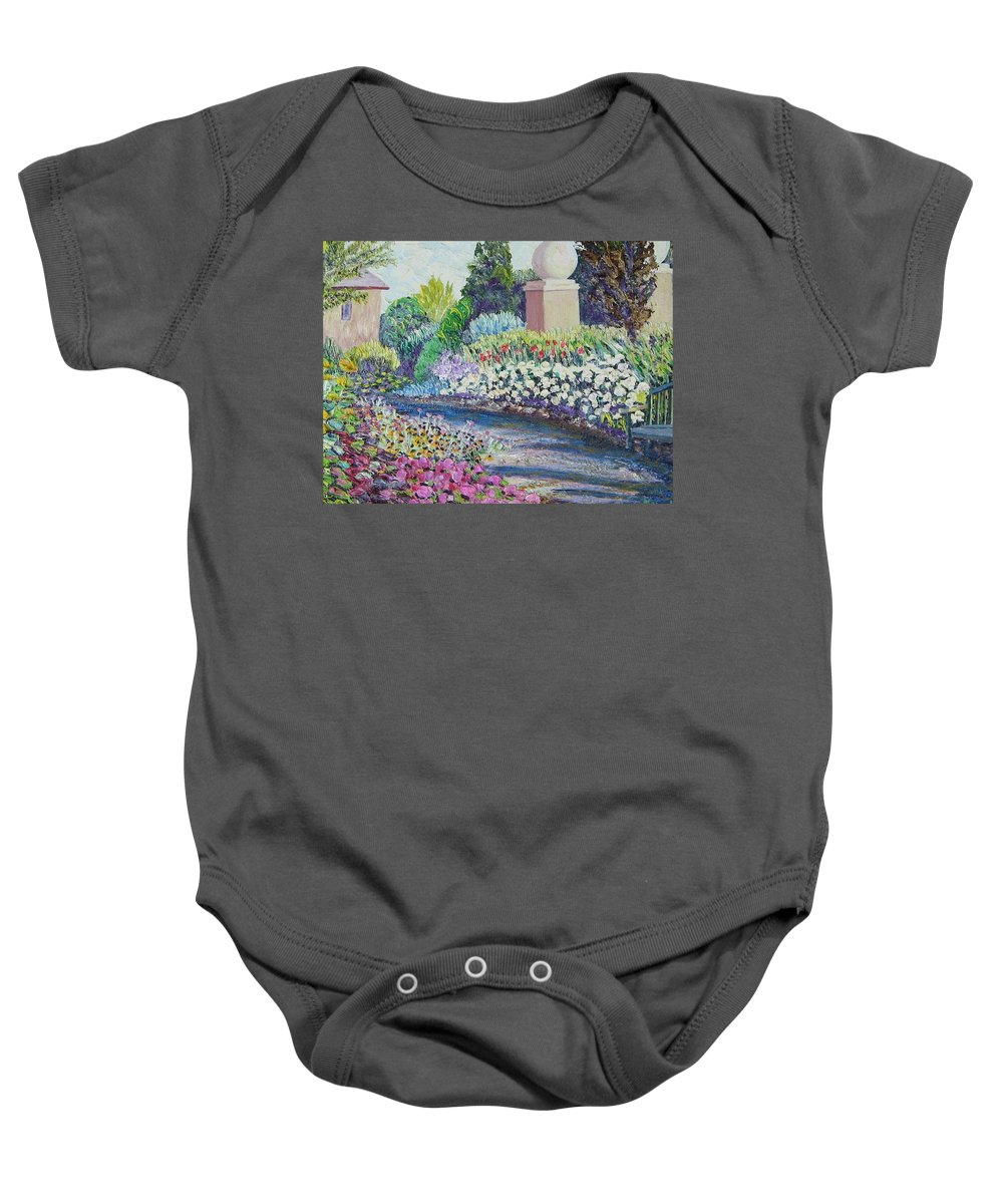 Flowers Baby Onesie featuring the painting Amelia Park Pathway by Richard Nowak