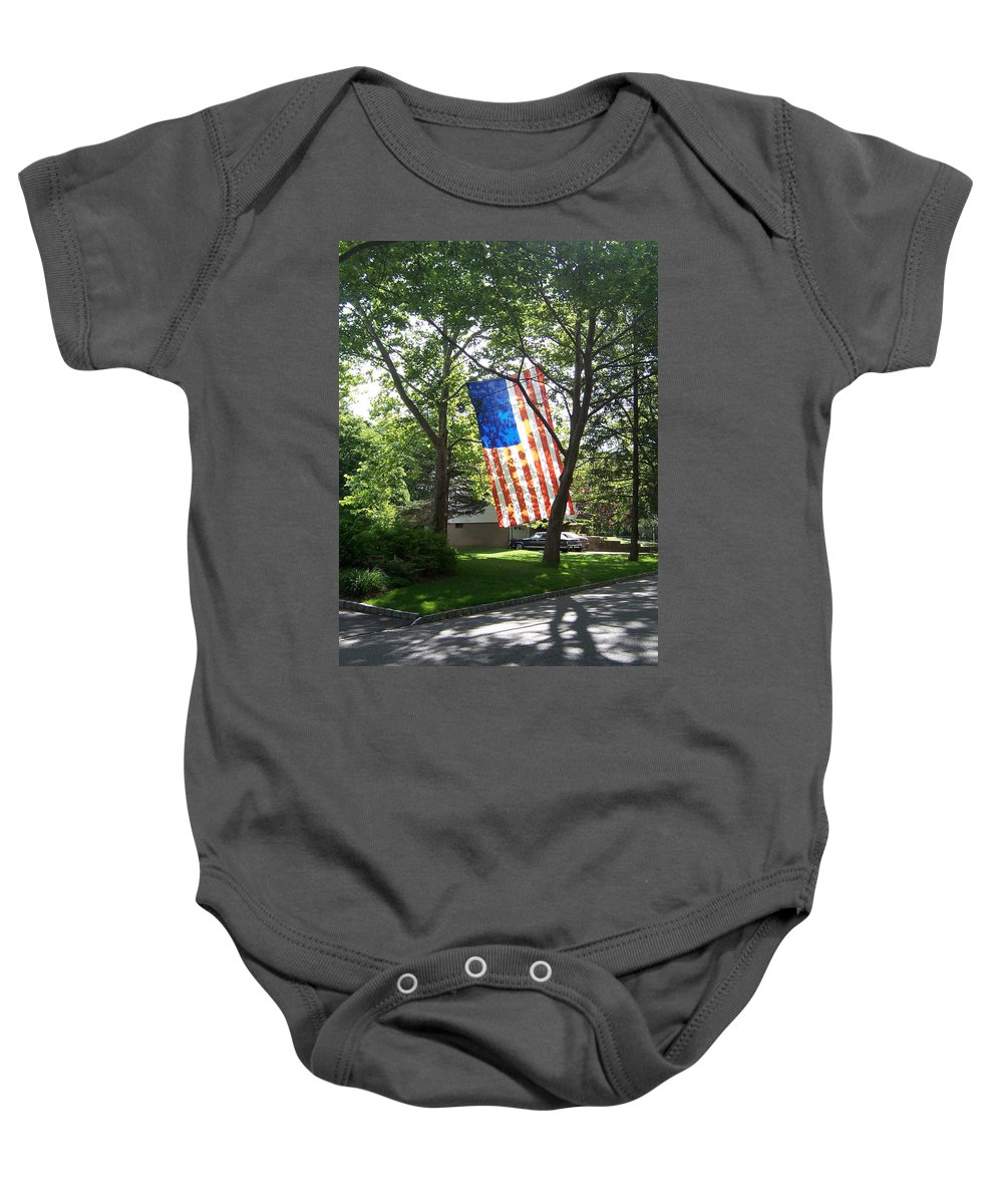 American Flag Baby Onesie featuring the photograph America The Beautiful by Laurie Paci