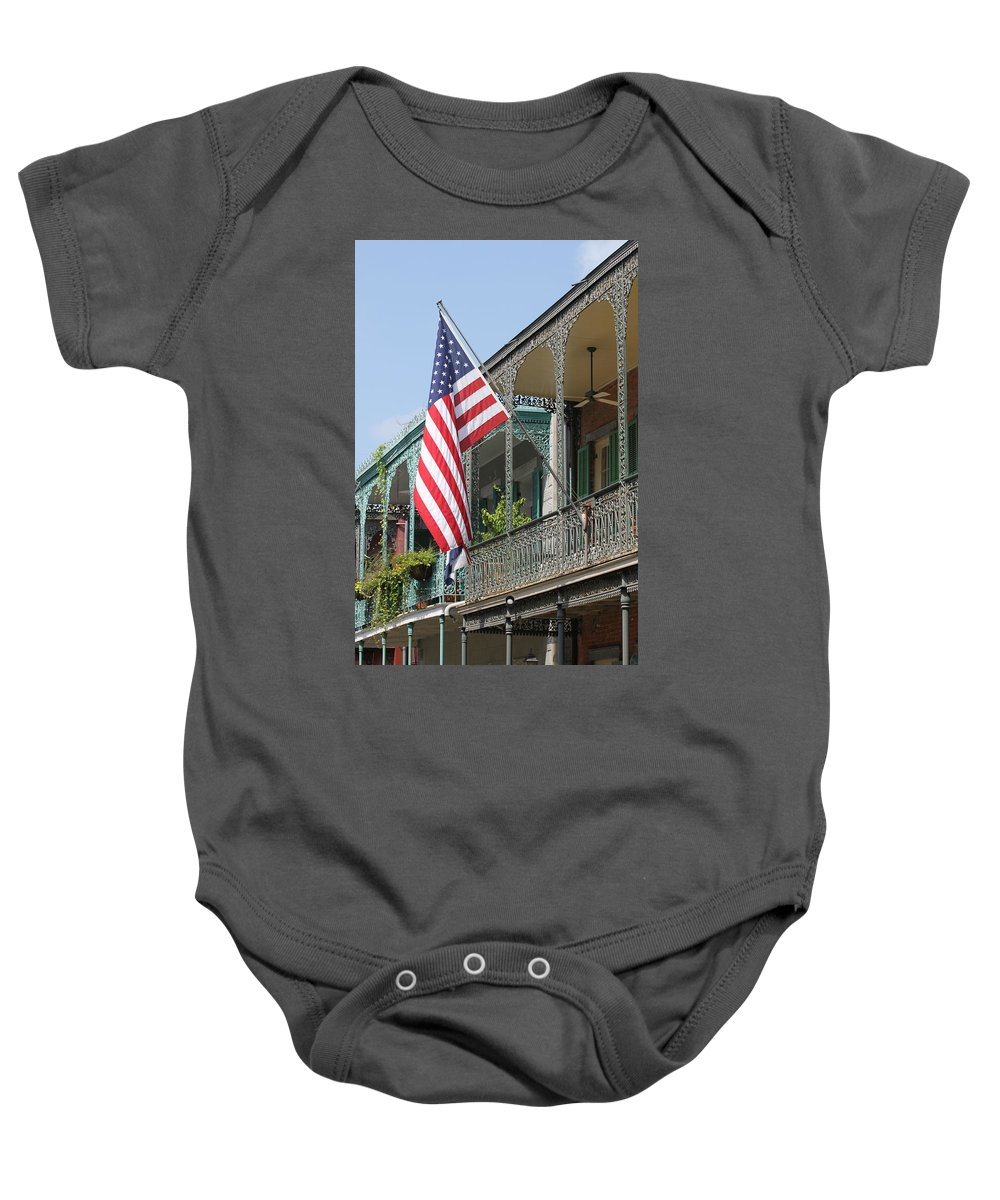 American Flag Baby Onesie featuring the photograph American French Quarter by Lauri Novak