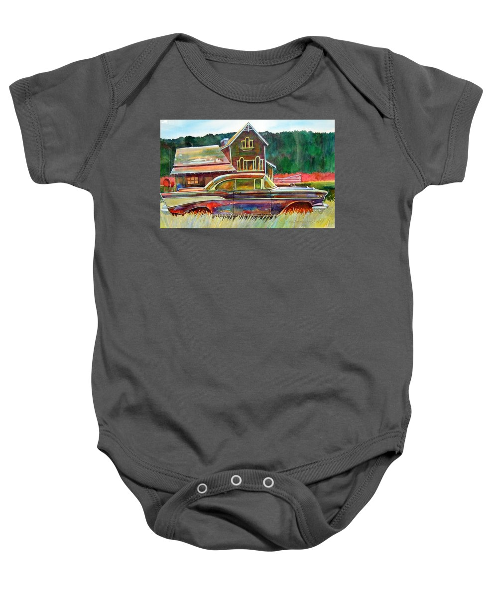57 Chev Baby Onesie featuring the painting American Heritage by Ron Morrison