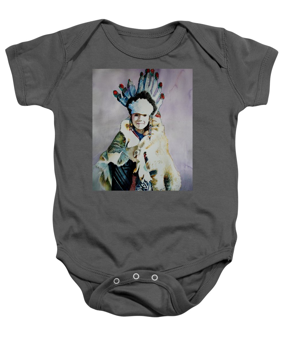 American Baby Onesie featuring the painting American Indian Girl by Jelly Starnes