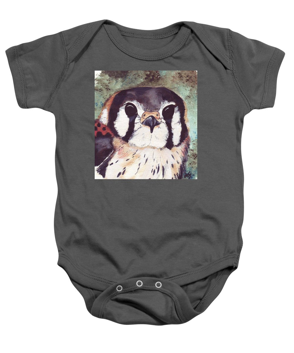 Raptor Baby Onesie featuring the painting American Kestrel by Debra Sandstrom