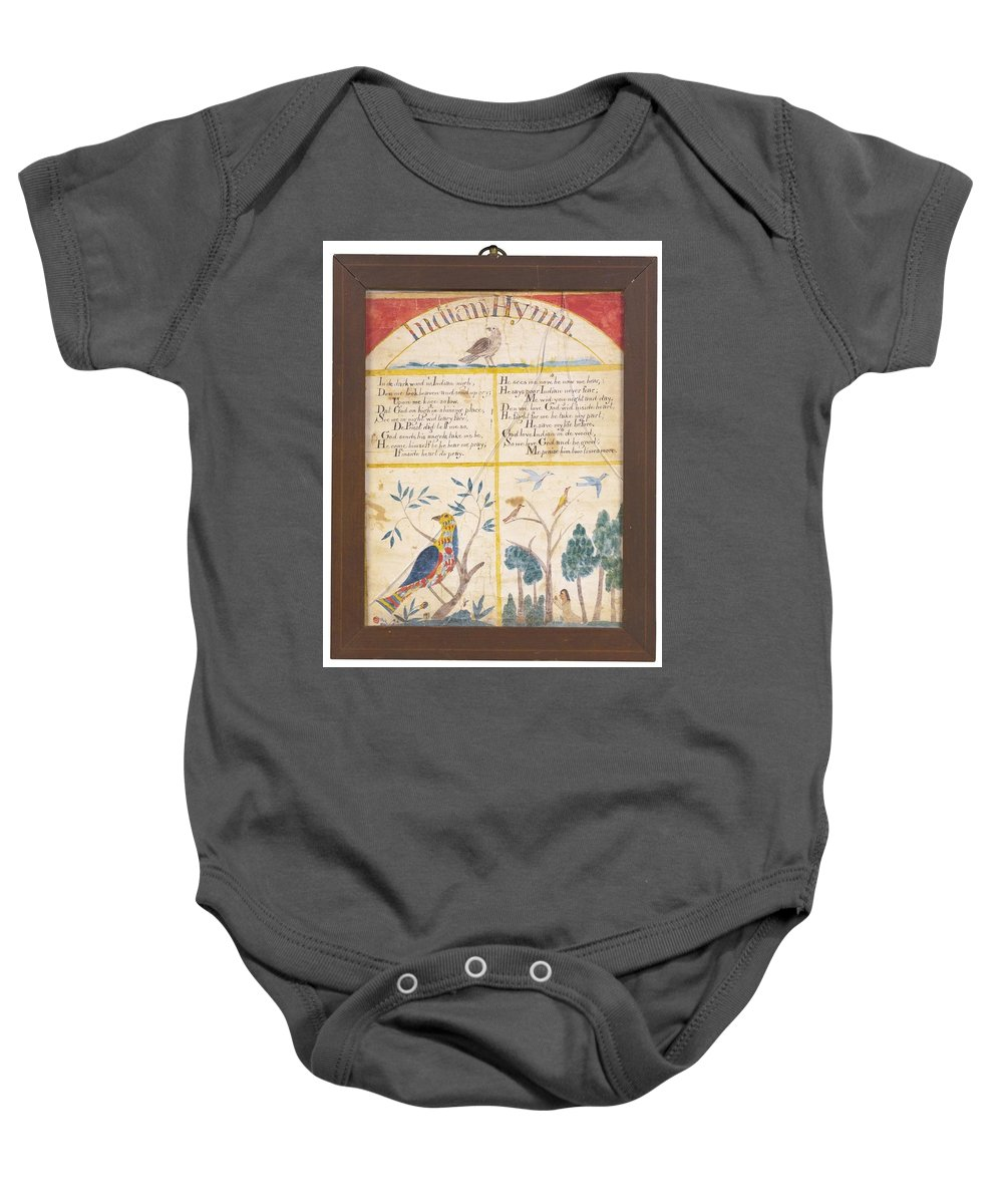 American School 19th Century Indian Hymn Baby Onesie featuring the painting American School by Eastern Accents