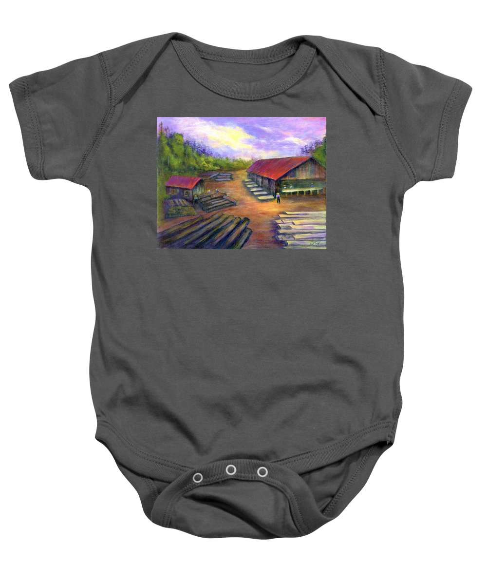 Amish Baby Onesie featuring the painting Amish Lumbermill by Gail Kirtz