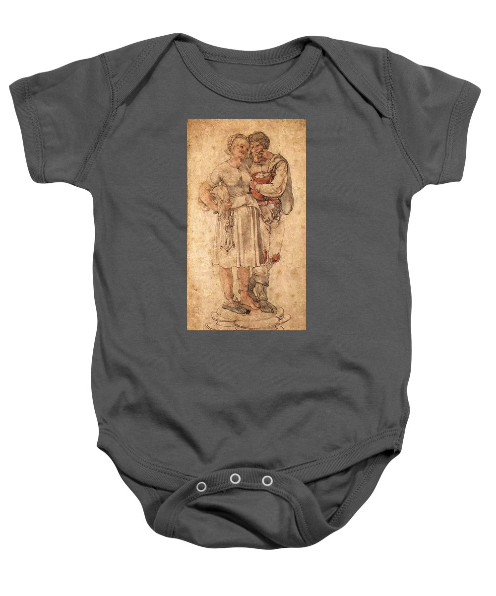 Amorous Baby Onesie featuring the painting Amorous Peasants by Durer Albrecht