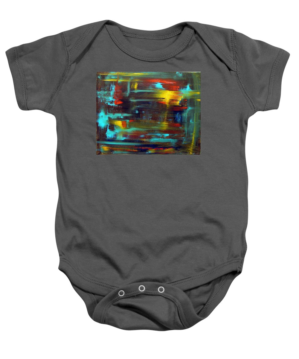 Red Blue Yellow Gold Brown Cad Orange Eyes Obama Oscar  Face Thought Emotions Baby Onesie featuring the painting An Abstract Thought by Jack Diamond