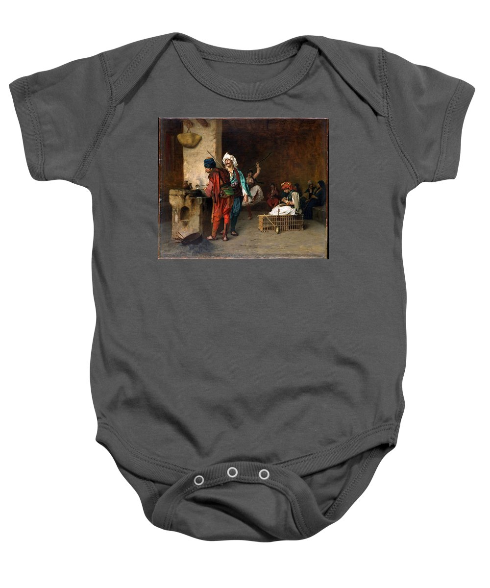 An Arab Archway C. 1860 (victor Pierre Huguet 1835-1902) Baby Onesie featuring the painting An Arab Archway by Eastern Accents