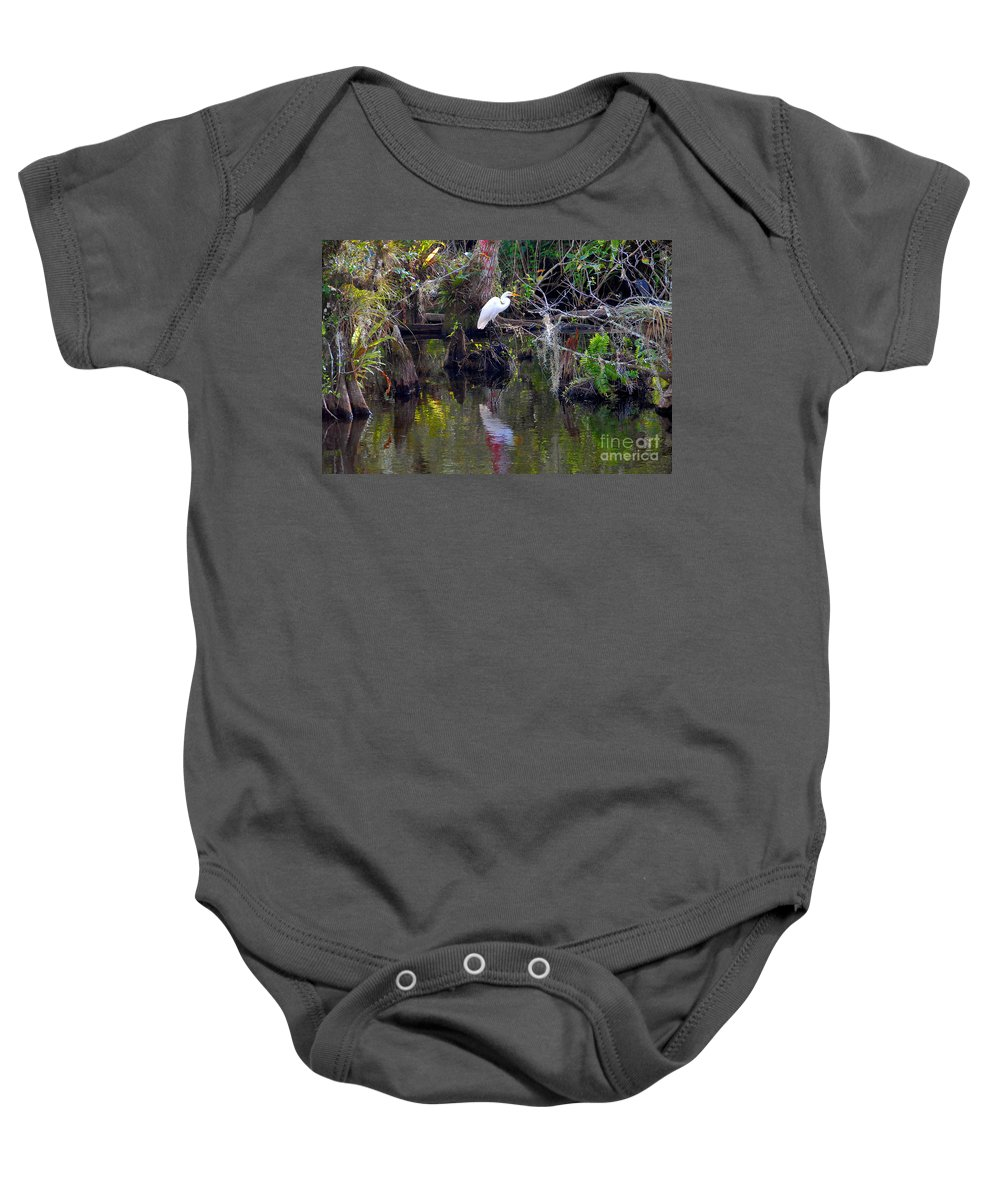 Everglades National Park Florida Baby Onesie featuring the photograph An Egrets World by David Lee Thompson