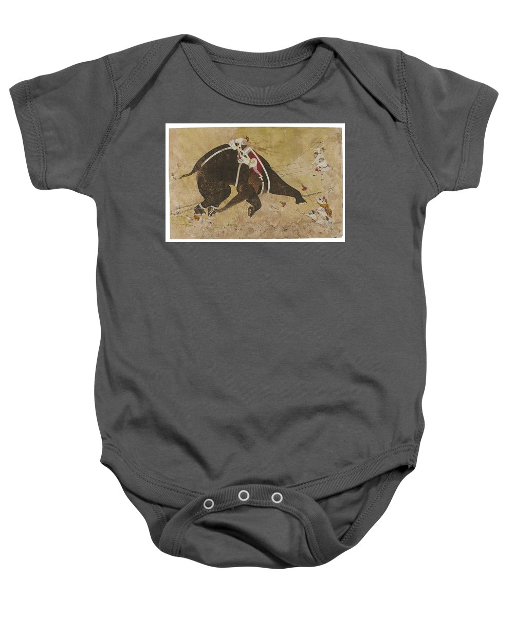 An Enraged Elephant Baby Onesie featuring the painting An Enraged Elephant by Eastern Accents