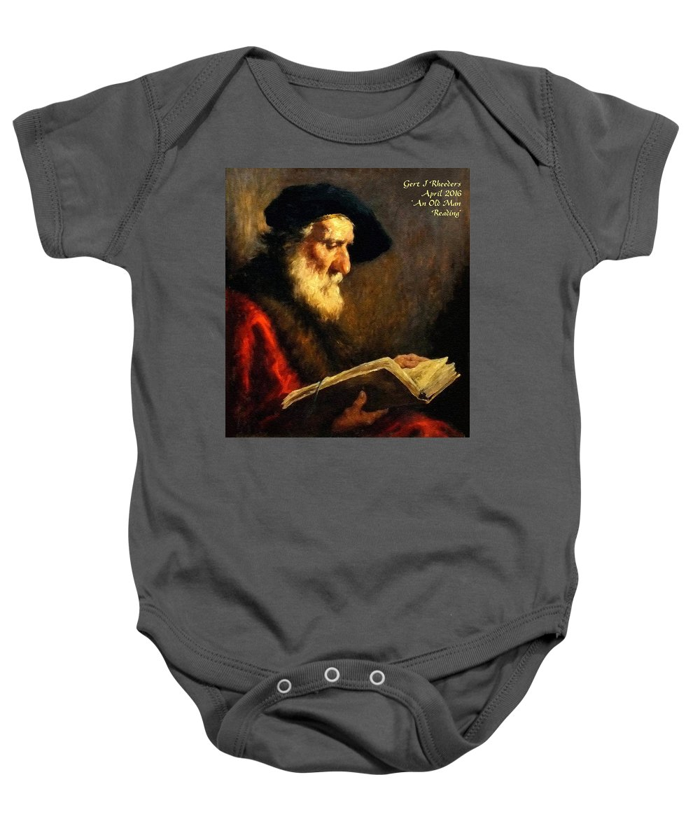 Portraits Baby Onesie featuring the painting An Old Man Reading P A by Gert J Rheeders
