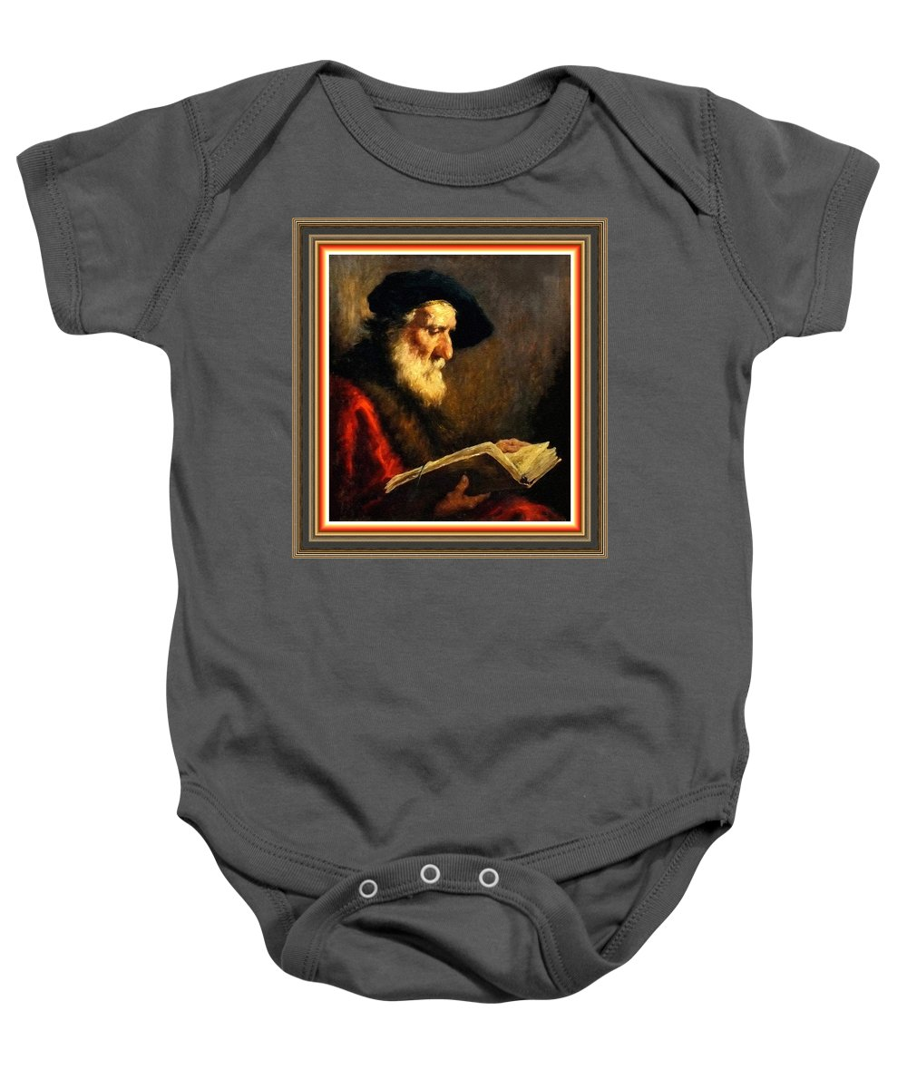 Portraits Baby Onesie featuring the painting An Old Man Reading P B With Decorative Ornate Printed Frame. by Gert J Rheeders